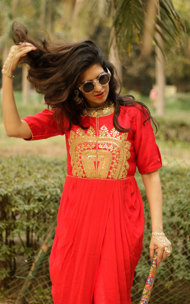 Buy Red Marodi Work Drape Tunic Set Online at LabelKanupriya.