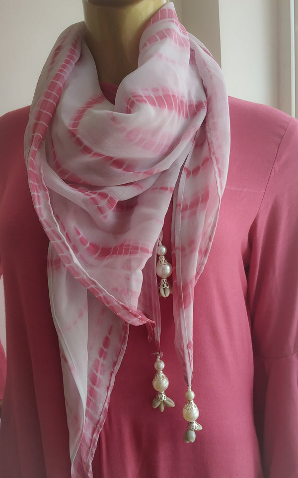 Buy Onion Pink Drape Dress with Scarf Online at LabelKanupriya.