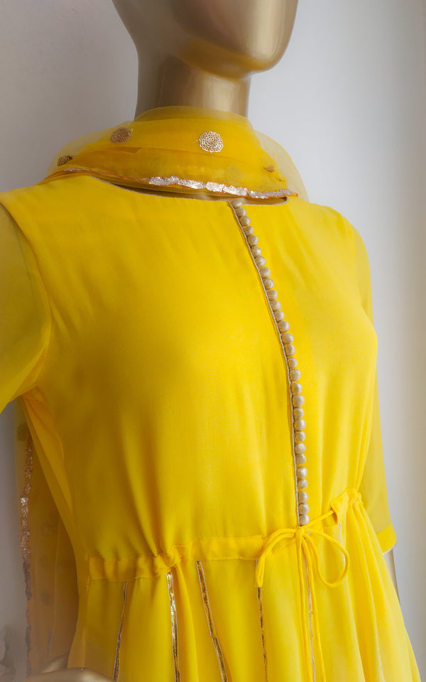 Buy Yellow Kalidar Sharara Set Online at LabelKanupriya.