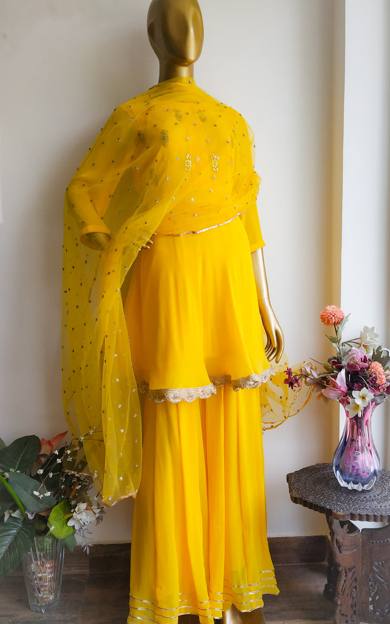 Buy Yellow Gota Patti Frock Style Sharara Set Online at LabelKanupriya.