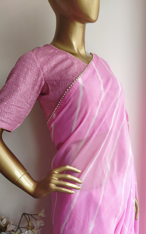 Light Pink Leheriya Saree