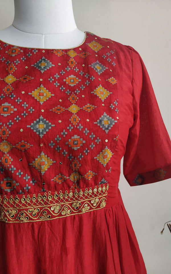 Red Cotton Silk Tunic