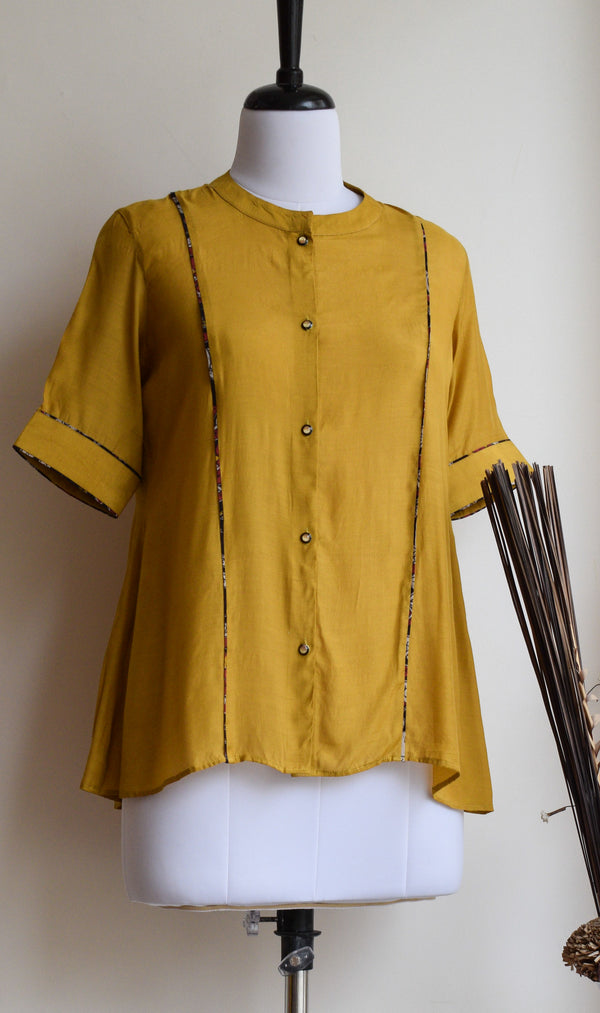 Mustard Cotton Silk Shirt Top