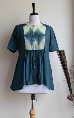 Shibori Yoke Cotton Silk Top