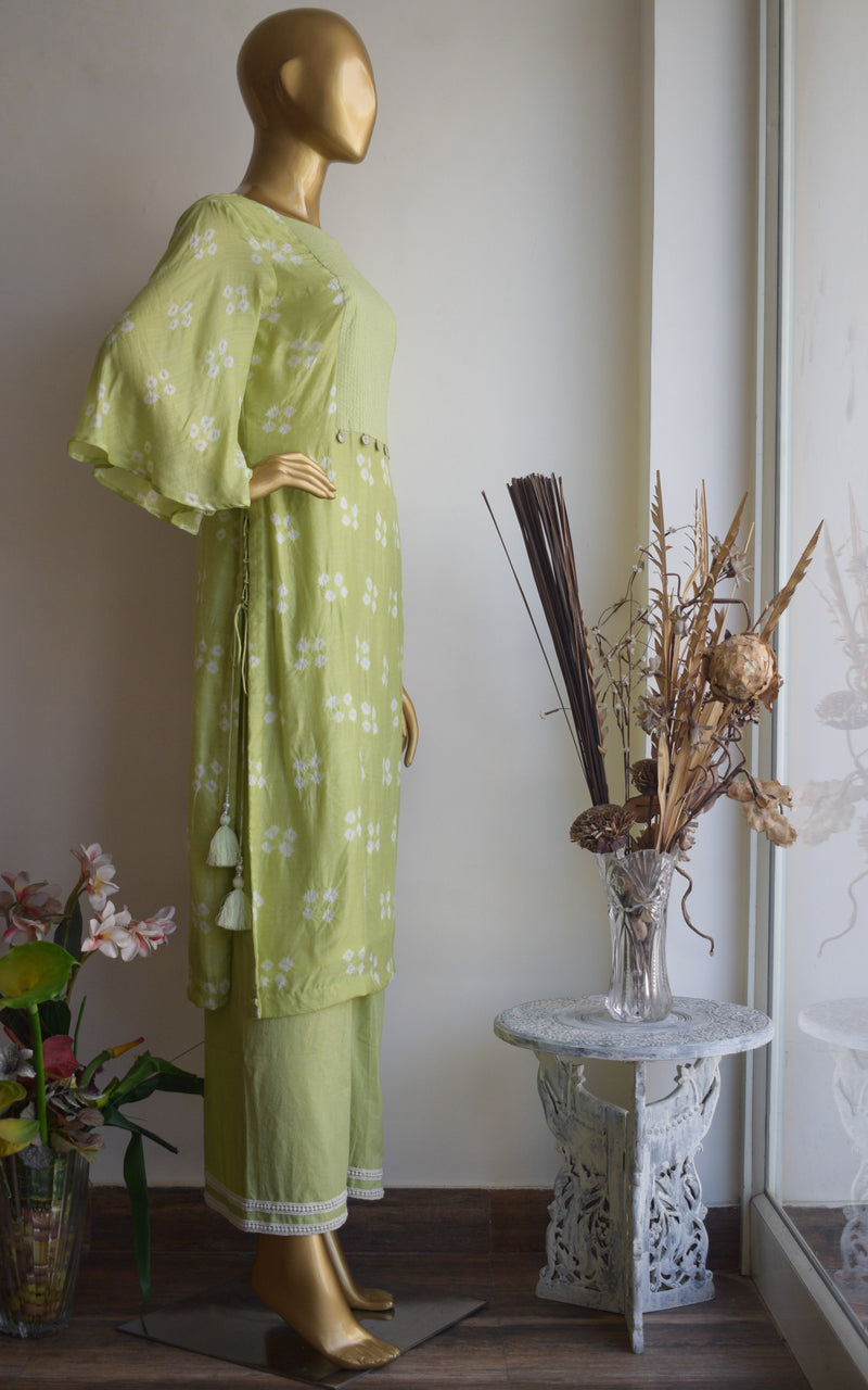 Sage Green Bandhej Kurta and Palazo Set