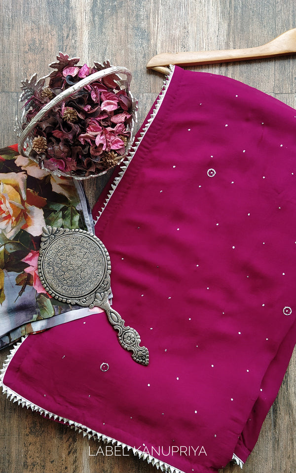 Wine Mukaish Saree with Floral Blouse