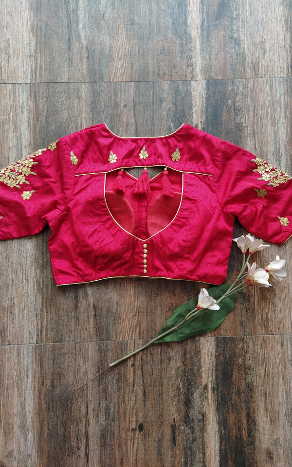 Red Gota Work Blouse (Color Customizable)