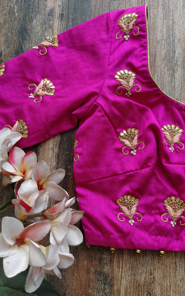 Fuschia Gota Patti Blouse (Color Customizable)