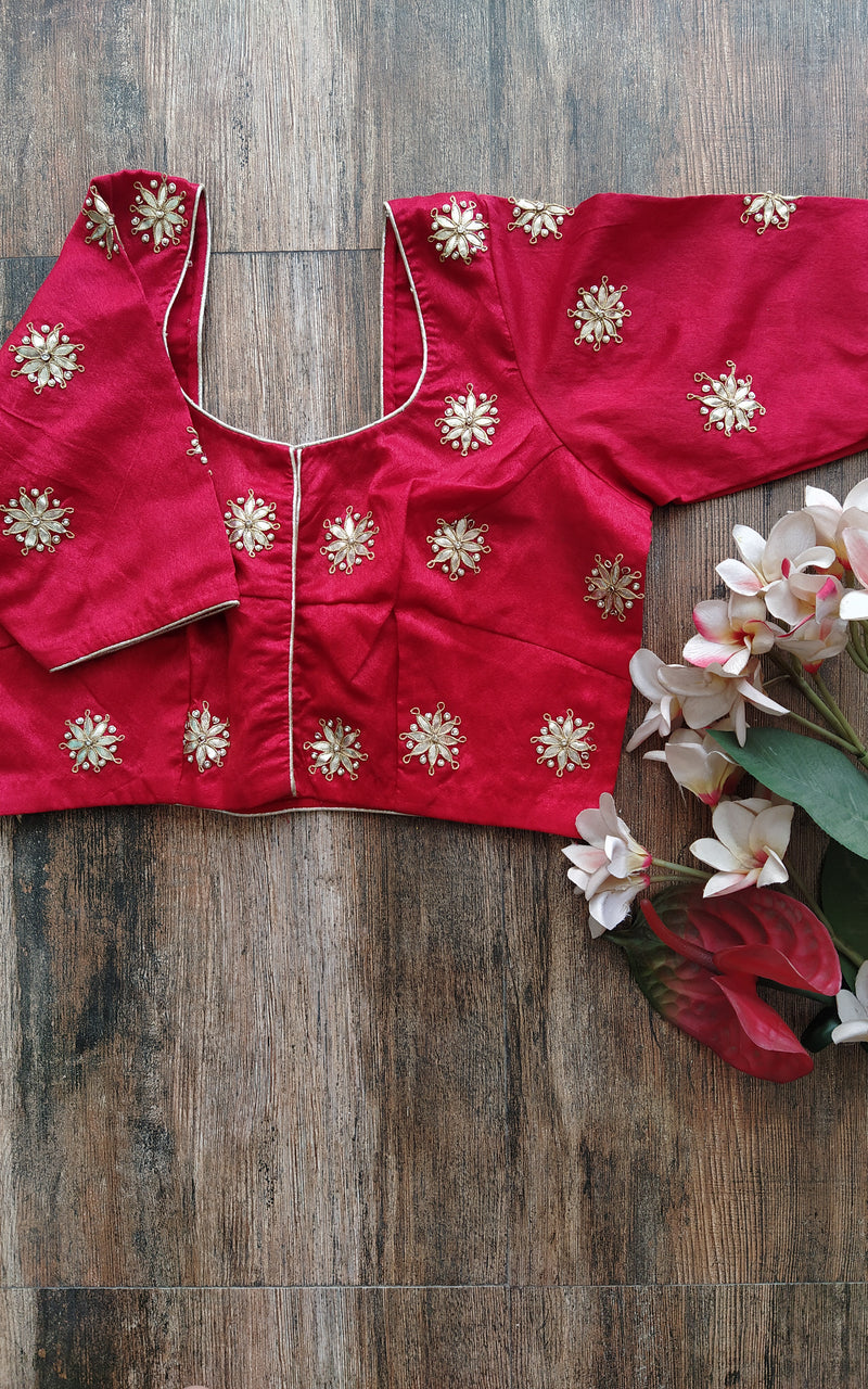 Red Gota Patti Blouse (Color Customizable)