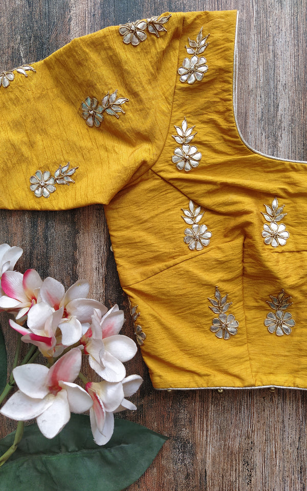 Mustard Gota Patti Blouse (Color Customizable)