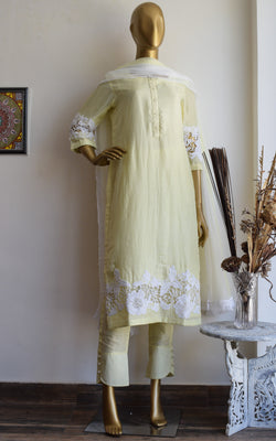 Chalk Yellow Cutwork Kurta Set