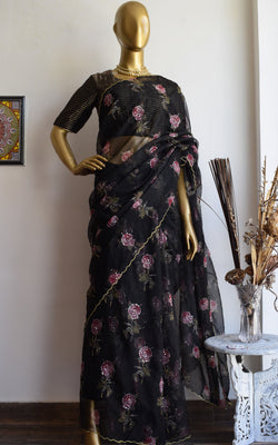 Black Rose Print Handwork Organza Saree