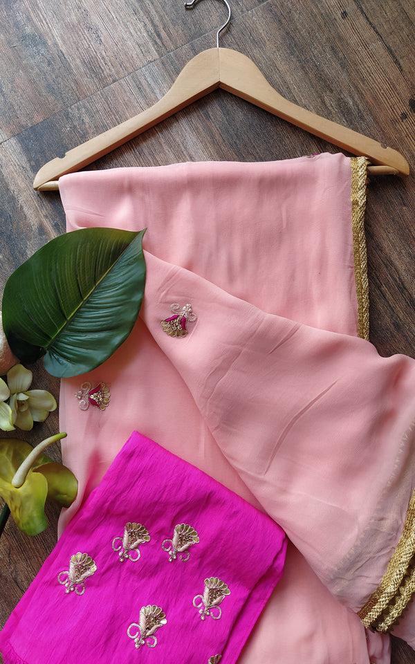 Peach Gota Patti Saree with Fuschia Blouse