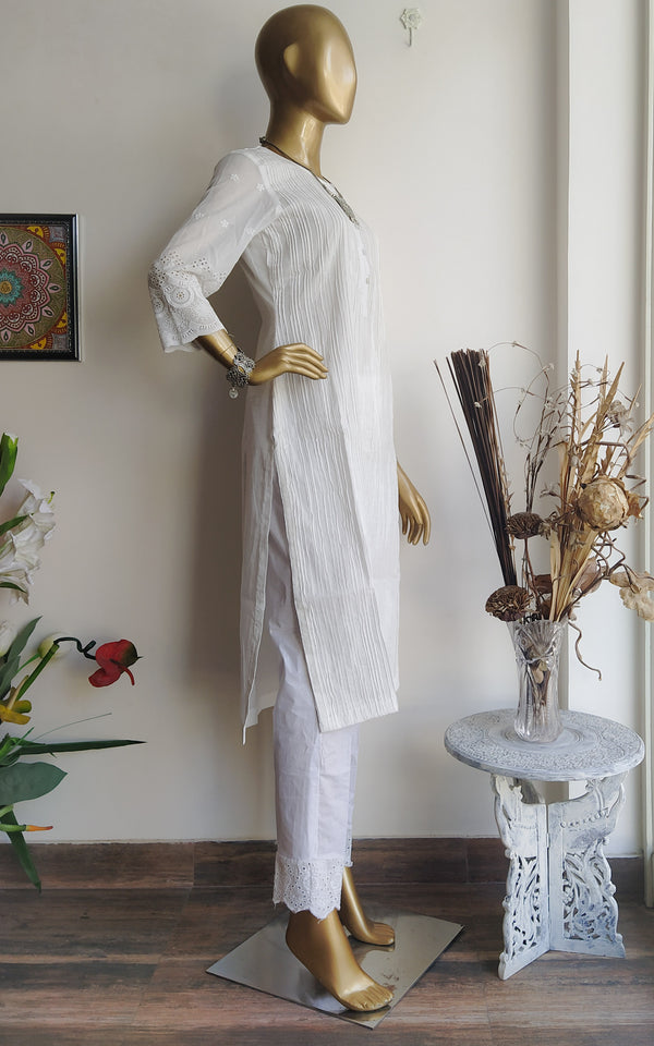 White Cotton Pintucks Kurta and Pant Set