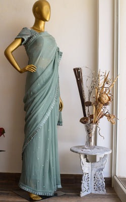 Sage Green Saree with Floral Sequinned Blouse