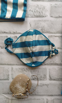 Teal Blue Striped Satin Face mask