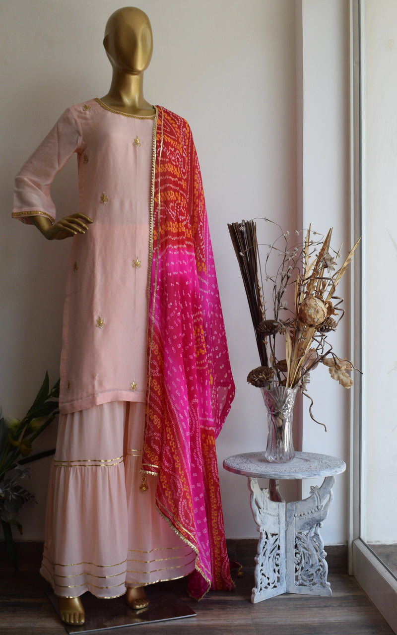 Powder Pink Gota Patti Sharara Set with Bandhej Dupatta