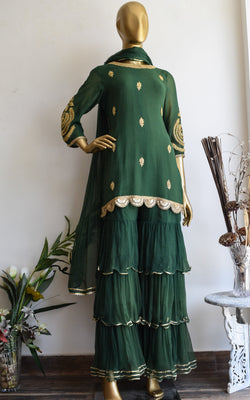 Bottle Green Marodi Work Sharara Set