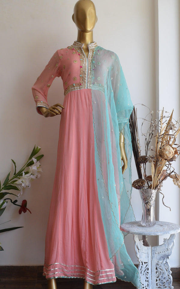 Peach Gota Patti Anarkali Suit
