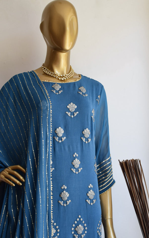 Navy Blue Gota Foil Kurta Set with Mukaish Dupatta