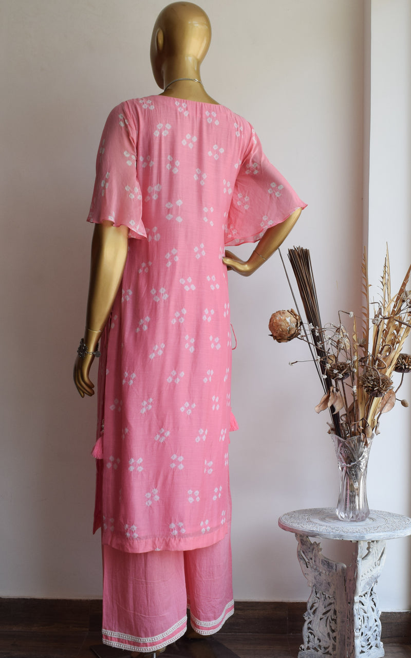 Light Pink Bandhej Kurta and Palazo Set