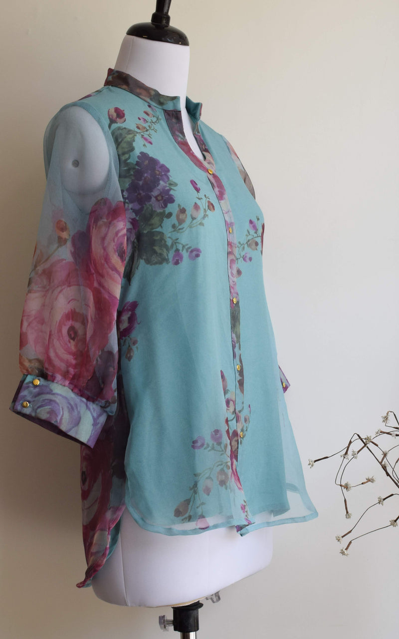 Vintage Blue Organza Shirt Top