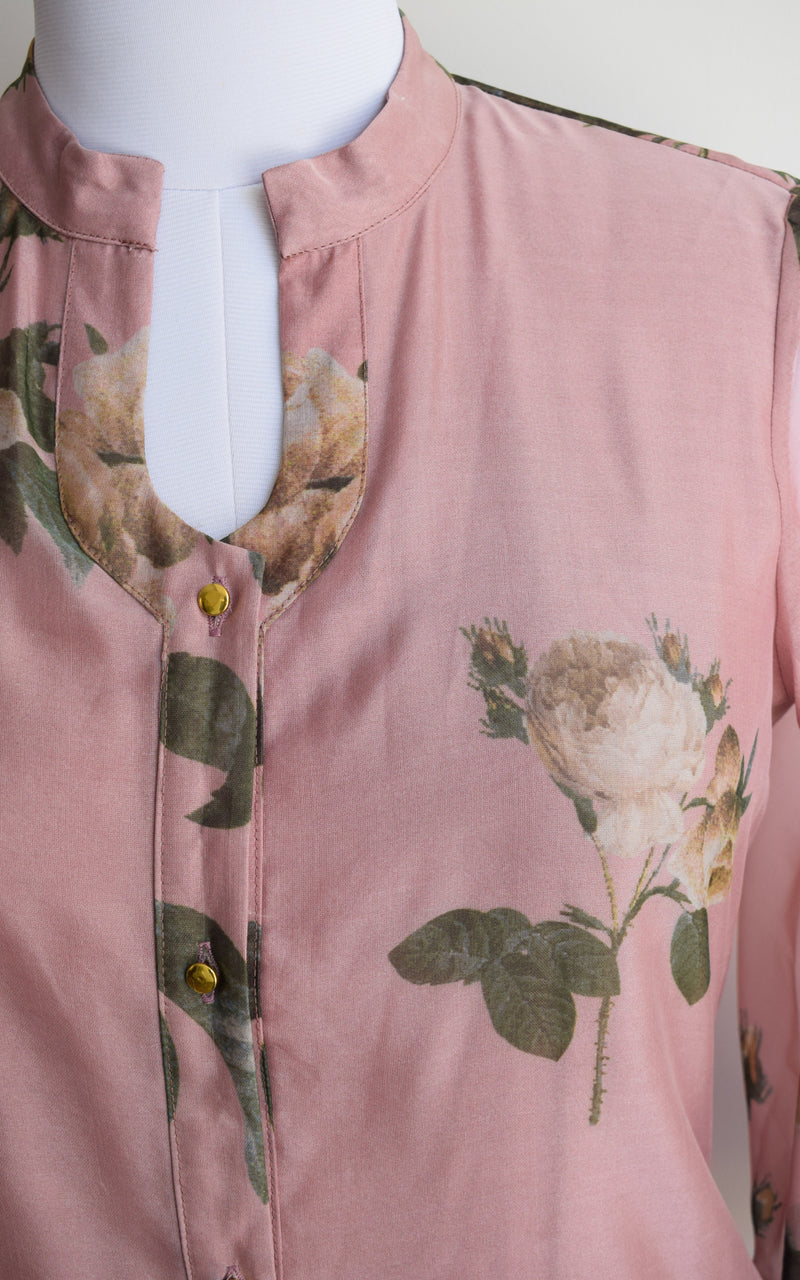 Peach Floral Organza Shirt Top