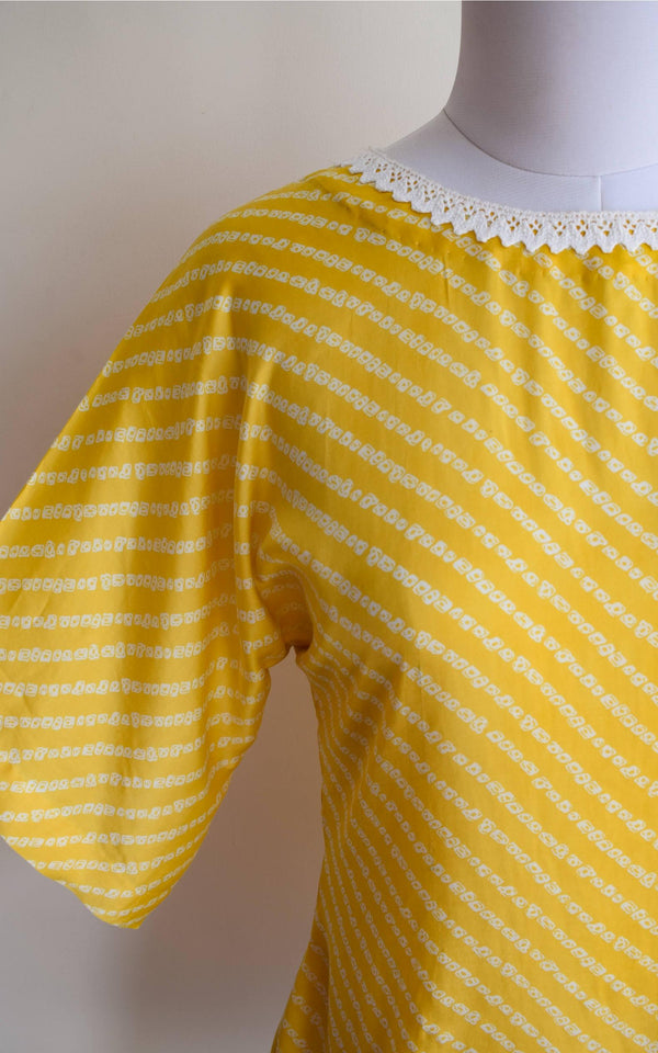 Yellow Bandhani Satin Top