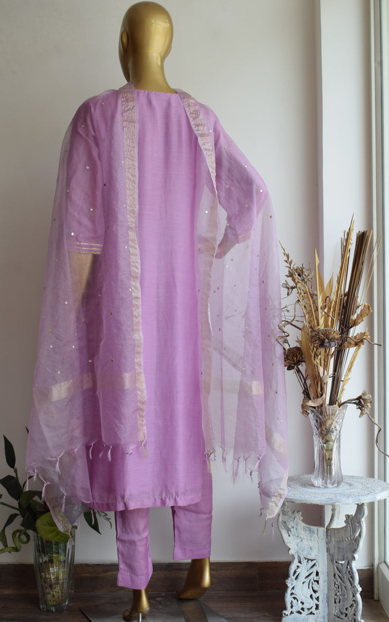 Lilac Kurta Set with Mirror-work Organza Dupatta
