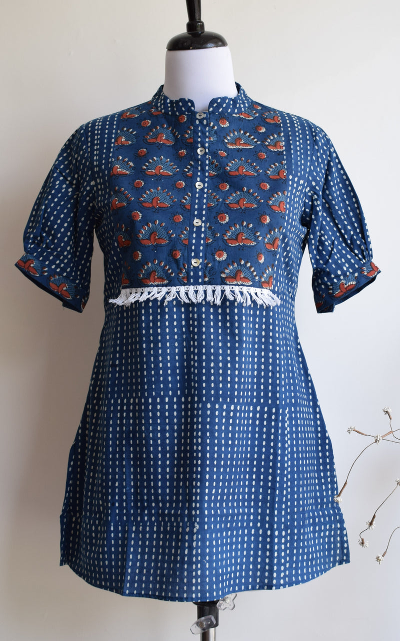 Indigo Cotton Block Print Top