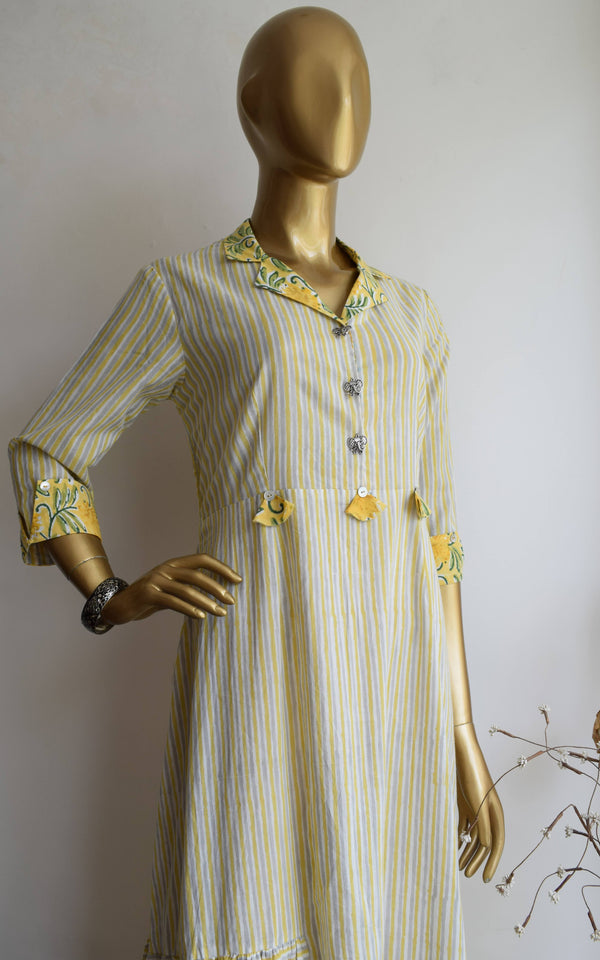 Yellow-Grey Striped Block Print Dress