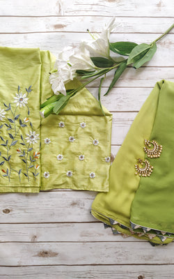 Shaded Green Saree with Embroidered Blouse