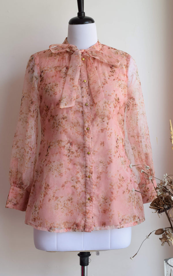 Pastel Pink Tie-Up Organza Shirt
