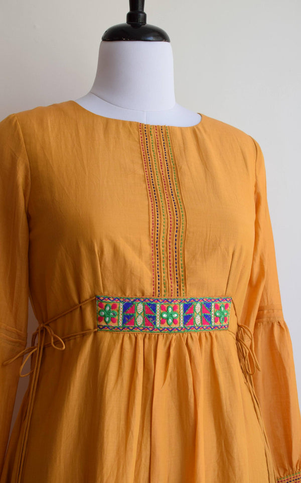 Mustard Cotton Silk Kantha-work Tunic