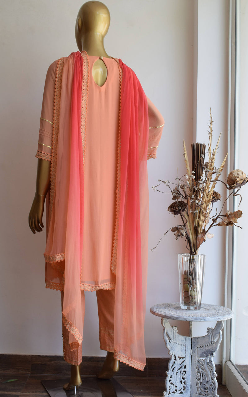 Peach Handwork Kurta Set