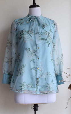 Sky Blue Tie-Up Organza Shirt