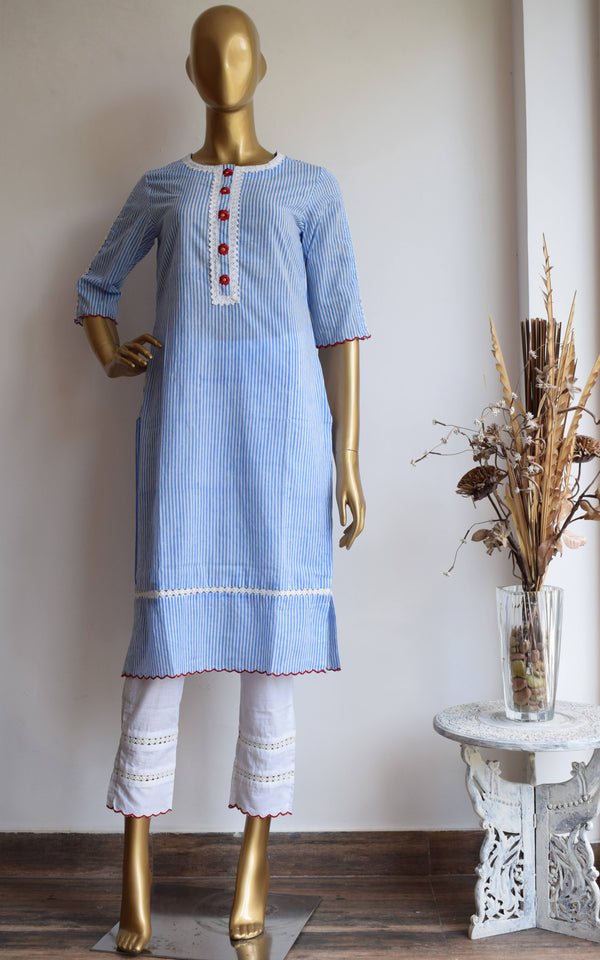 Oxford Striped Block Print Kurta and Pant Set