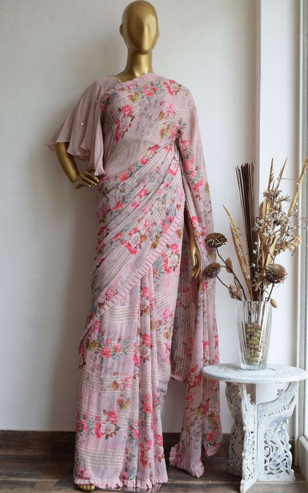 Carnation Pink Floral Georgette Saree