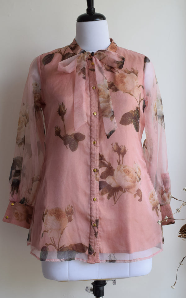 Peach Floral Tie-Up Organza Shirt