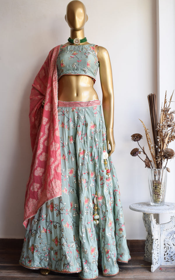 Turquoise Embroidered Lehenga with Banarsi Dupatta