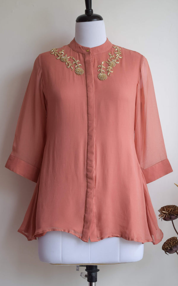 Rose Gold Embroidered Top