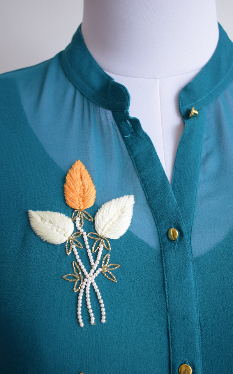 Teal Blue Embroidered Shirt Top