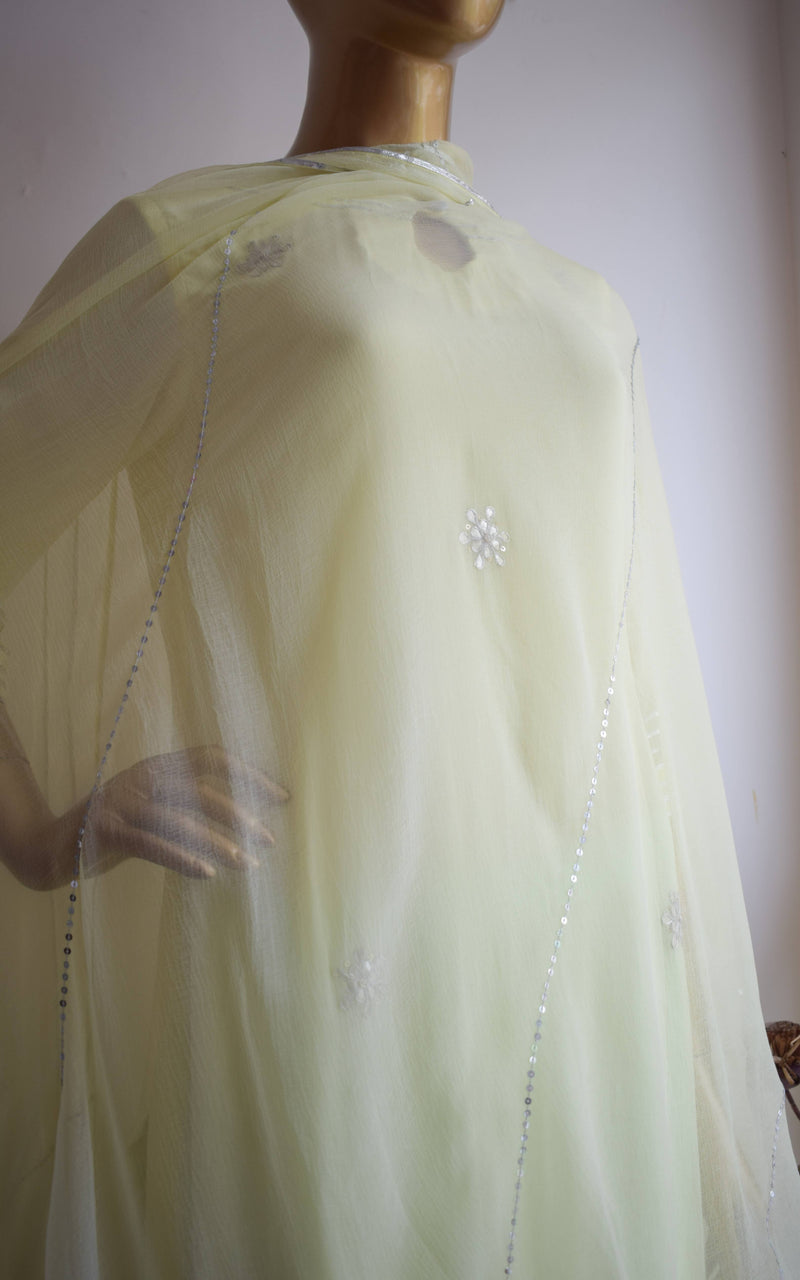 Lime-Blue Silver Gota Patti Sharara Set