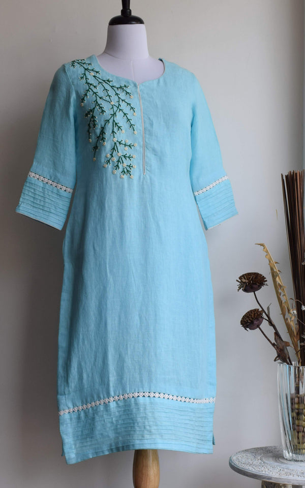 Sky Blue Embroidered Linen Kurta