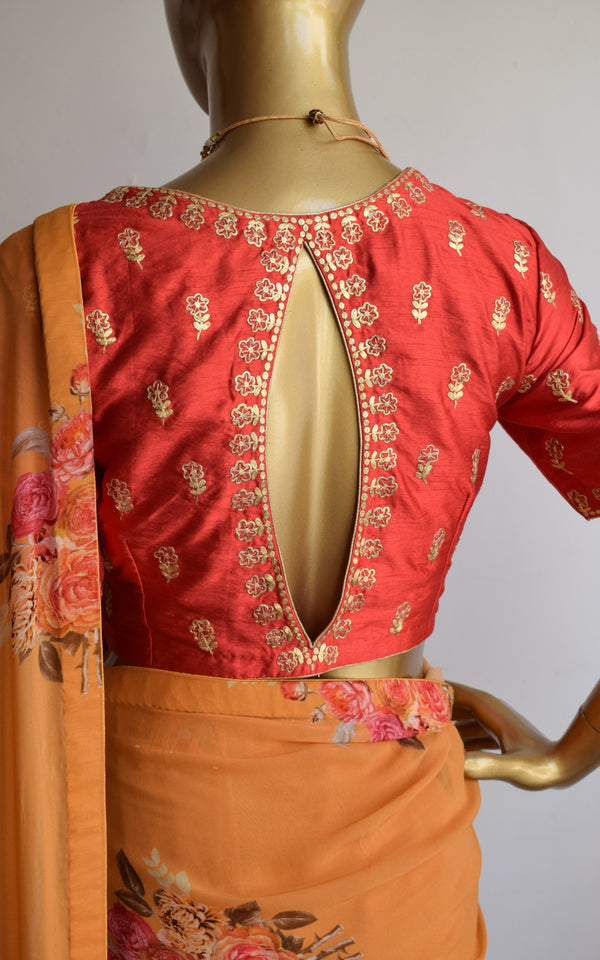 Mustard Floral Georgette Saree with Red Pittan-work Blouse