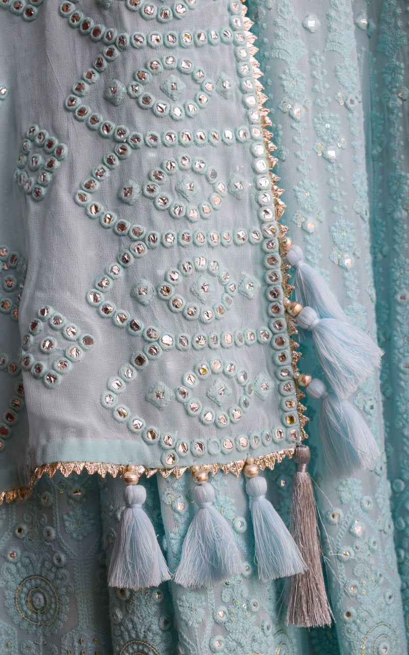 Powder Blue Mirror-work Lehenga