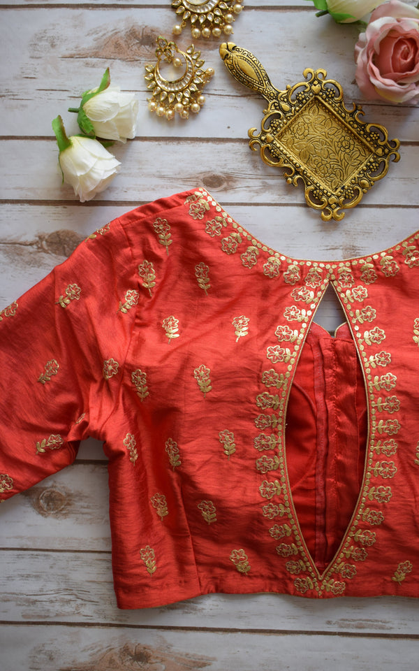 Red Pittan-work Blouse