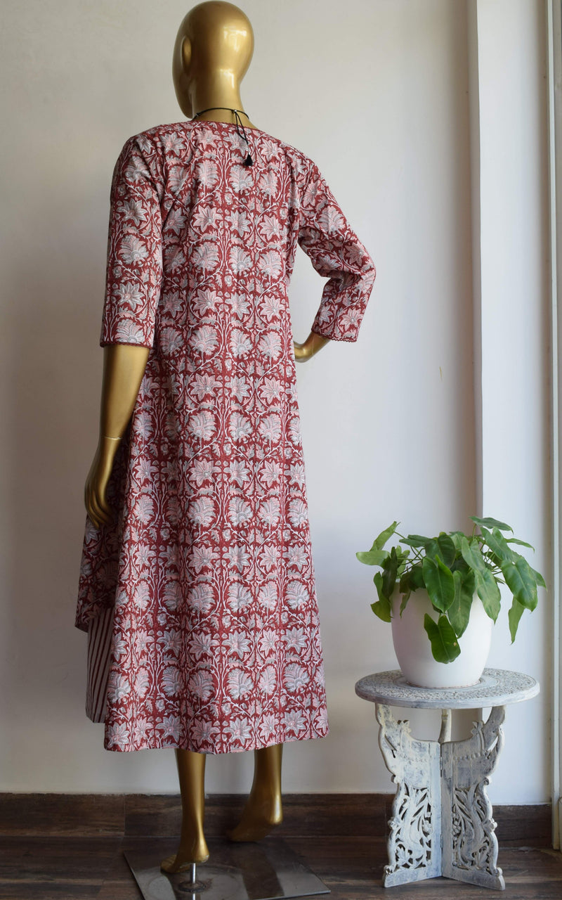 Maroon Block Print Jacket with Cotton Dress