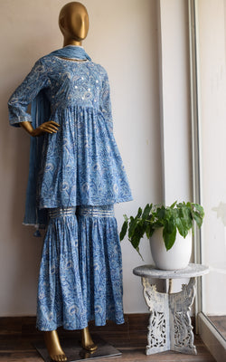 Midnight Blue Block Print Mirror-work Sharara Set