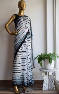 Black & White Shibori Saree with Mirror-work Blouse